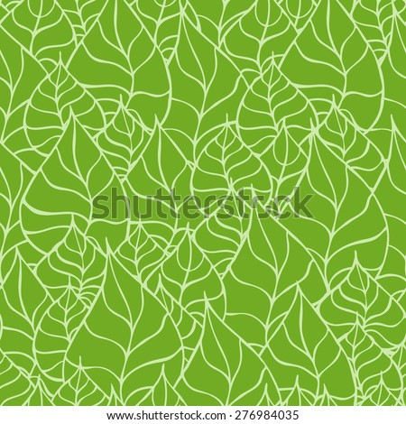 Vector creative hand-drawn abstract seamless pattern of stylized leaves in shades of green - stock vector