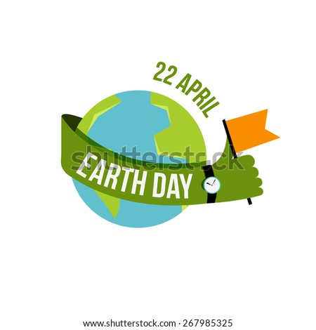 Vector creative Happy Earth Day Greeting stock vector for cards - stock vector