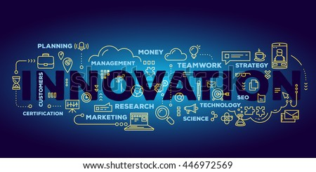Vector creative illustration of innovation word lettering typography with line icons, tag cloud on dark blue gradient background. Business innovation concept. Thin line art style design of innovation - stock vector