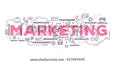 Vector creative illustration of marketing word lettering typography with line icons and tag cloud on white background. Marketing  technology concept. Thin line art style design for business marketing - stock vector