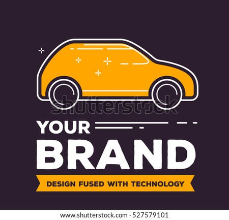 Vector creative illustration of side view yellow car with header on dark background. Car brand service and maintenance concept. Flat thin line art style design for car repair, wash, parking