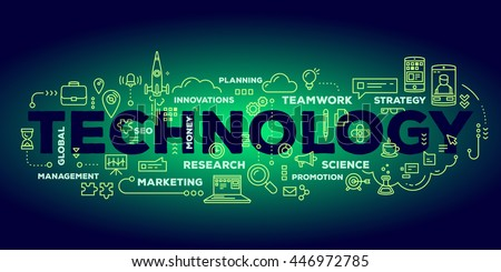 Vector creative illustration of technology word lettering typography with line icons, tag cloud on dark green gradient background. Business technology concept. Thin line art style design of technology - stock vector
