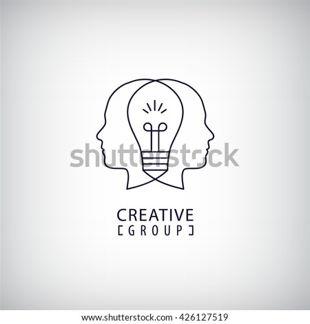 Vector creative mind logo, creative group logo, two heads and light bulb between illustration. Thinking, creating new ideas concept. Outline logo - stock vector