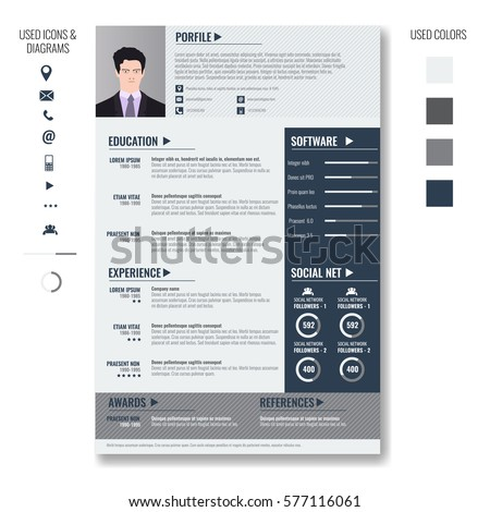 vector creative minimalist cv resume template with photo frame and infographic charts casual solid - Minimalist Resume Template