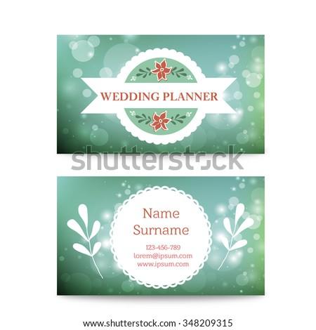 Vector Creative Mint Business Card Template Stock Vector - Wedding business card template