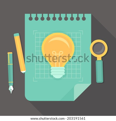 Vector creative project - icon in flat style - innovation concept - light bulb on blue paper - stock vector