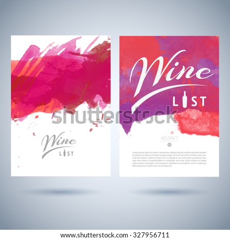 Vector creative wine list cover template with logo on abstract watercolor background - stock vector