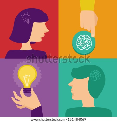Vector creativity and brainstorming concept - human brain and idea icons in flat style - stock vector