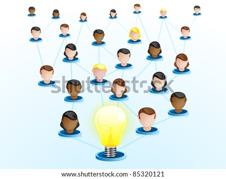 Vector - Creativity Network Crowdsourcing - stock vector