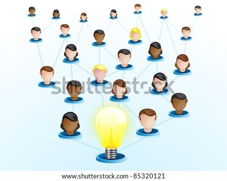 Vector - Creativity Network Crowdsourcing - stock vector