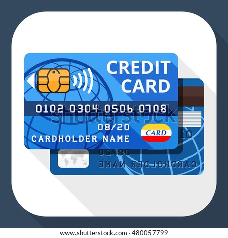 Vector credit card icon from both sides with long shadow