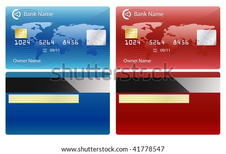 vector credit card isolated on white - stock vector