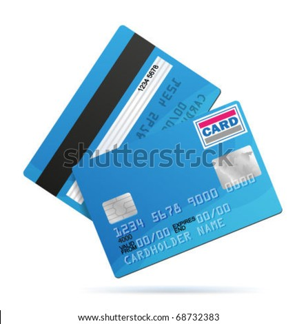 Vector Credit Card template. Front and back side. - stock vector