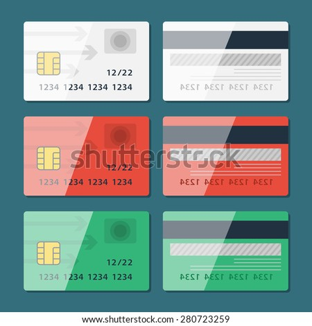 Vector Credit Card two sides in flat style.