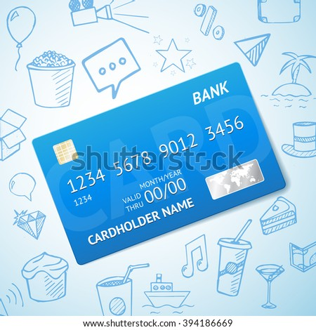Vector Credit card with set of doodle icons, hand drawn objects on background - stock vector