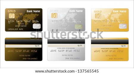 Vector credit cards - stock vector