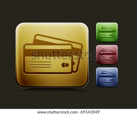 vector credit cards icon set, includes four color versions for your web colour design used. - stock vector