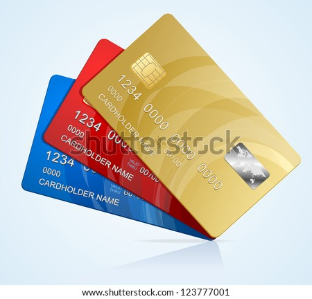 Vector Credit Cards isolated - stock vector