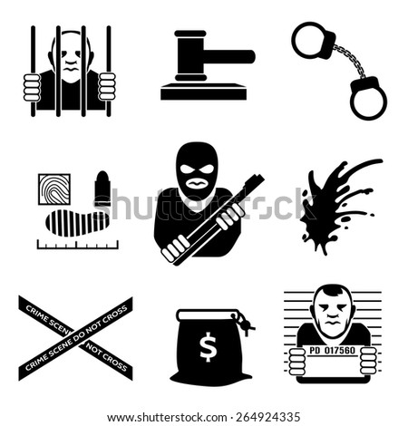 Vector criminal. Law and justice, legal and prison, handcuff and burglar - stock vector