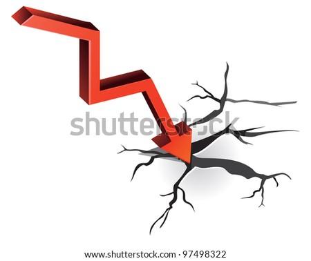 vector crisis concept - red arrow and cracks - stock vector