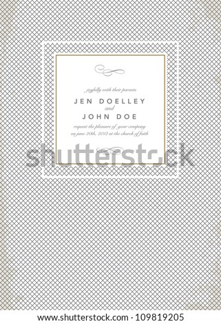 Vector Cross Hatch Pattern and Frame. Easy to edit. Perfect for invitations or announcements. - stock vector