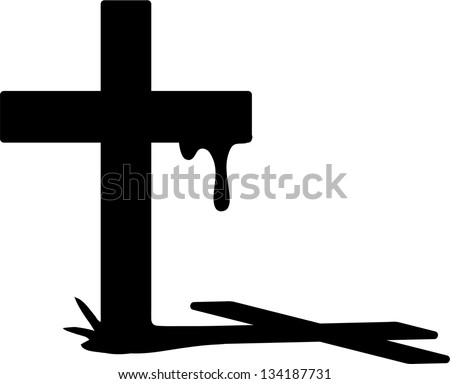 Vector cross silhouette with blood and shadow - stock vector