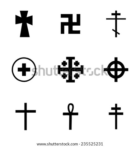 Vector crosses icons set on white background