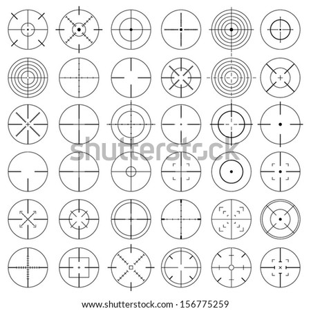Vector crosshairs set - stock vector