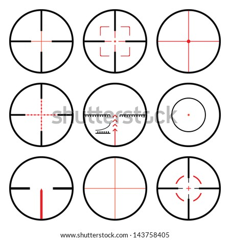 Vector crosshairs set with red sights. Each crosshair in seperated layers. - stock vector