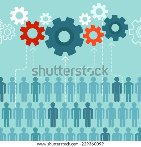 Vector crowdsourcing concept in flat style - abstract group of people participating in generating content - stock vector