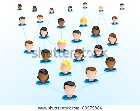 Vector - Crowdsourcing Network Icons - stock vector