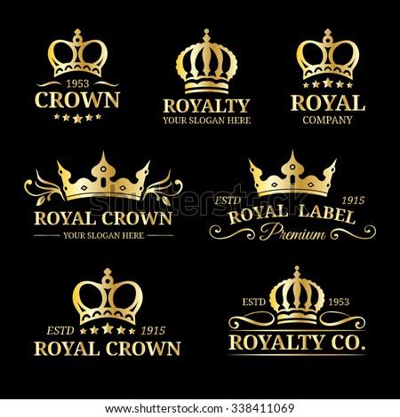 Vector crown logo set. Luxury corona monograms design. Coronet vintage icons. Diadem illustrations. Used for hotel, restaurant, boutique, invitation, jewellery, etc. - stock vector