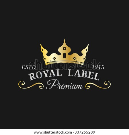 Vector crown logo template. Luxury corona monogram design. Coronet vintage icon. Diadem illustration. Used for hotel, restaurant, boutique, invitation, jewellery, etc. - stock vector