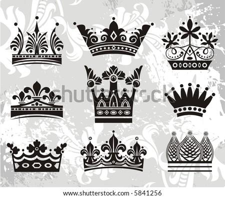 vector crowns - stock vector