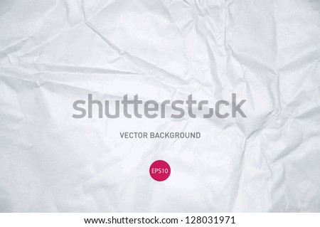 Vector crumpled white paper background - stock vector
