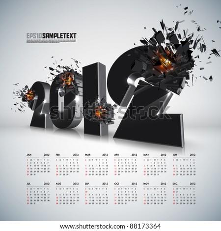 Vector 2012 Crushing with Calendar - stock vector