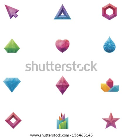 Vector crystals set - stock vector