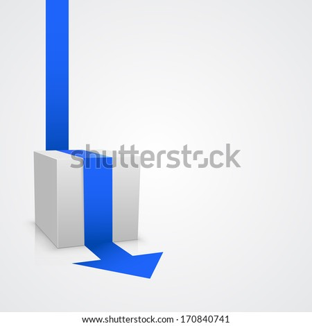 Vector cube with arrow template. Vector illustration