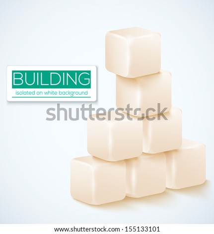 Vector cubes isolated on a white background.