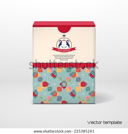 Vector cubic box template with a geometric pattern. Multicolored figures and grid. Beautiful round label with two goats and ribbon.  - stock vector