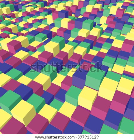 Vector Cubic Perspective Texture with Yellow Blue Magenta and Green Cubes. Vector Illustration.  - stock vector