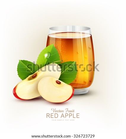 vector cup glass of apple juice with slices of apple on a white background - stock vector