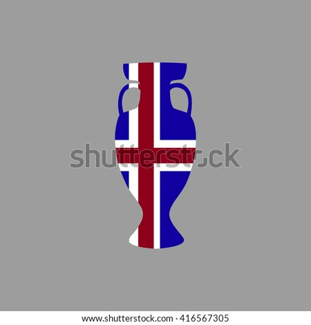 Vector cup isolated on grey background. Iceland national state flag colors. First 1st place in sport competition trophy symbol. Championship winner prize icon sign. Flat style. Graphic object clip art - stock vector