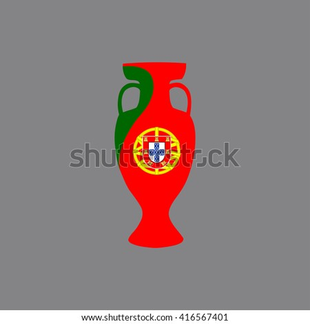 Vector cup isolated on grey background. Portugal national state flag colors.First 1st place in sport competition trophy symbol. Championship winner prize icon sign. Flat style. Graphic object clip art - stock vector