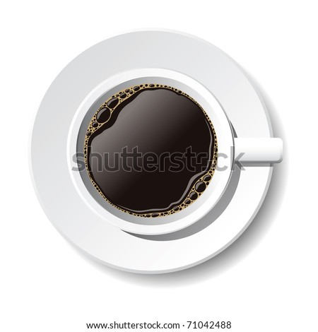 vector cup of coffee on the white background - stock vector