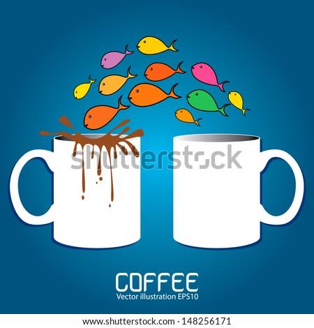 Vector cup of coffee set ideas. - stock vector