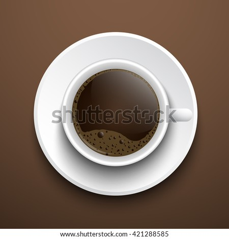 Vector cup  of coffee with foam top view on a brown background on a saucer.