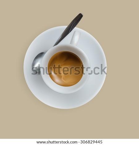 vector cup of espresso coffee, top view, saucer, spoon - stock vector