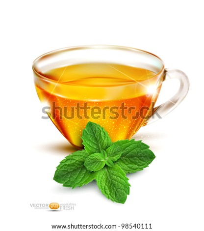 Vector cup of tea with mint leaves on a white background - stock vector