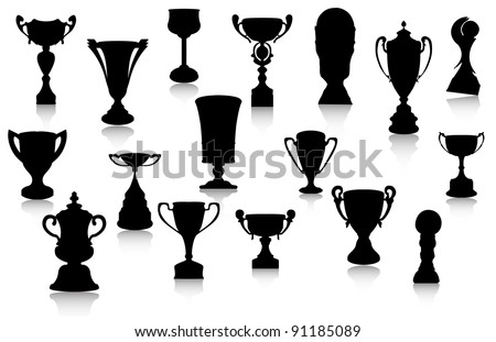 Vector Cup Silhouette Set - stock vector